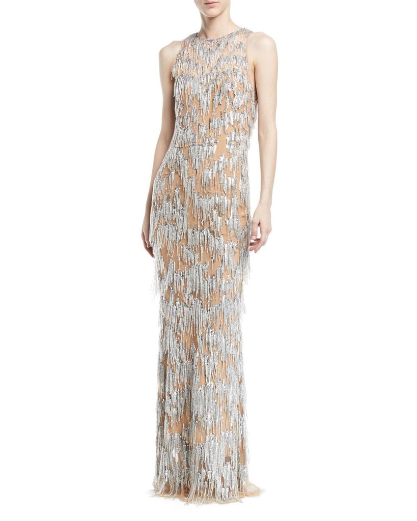 Zuhair Murad Fringe Beaded Evening Gown | Chrissy Teigen\'s Silver ...