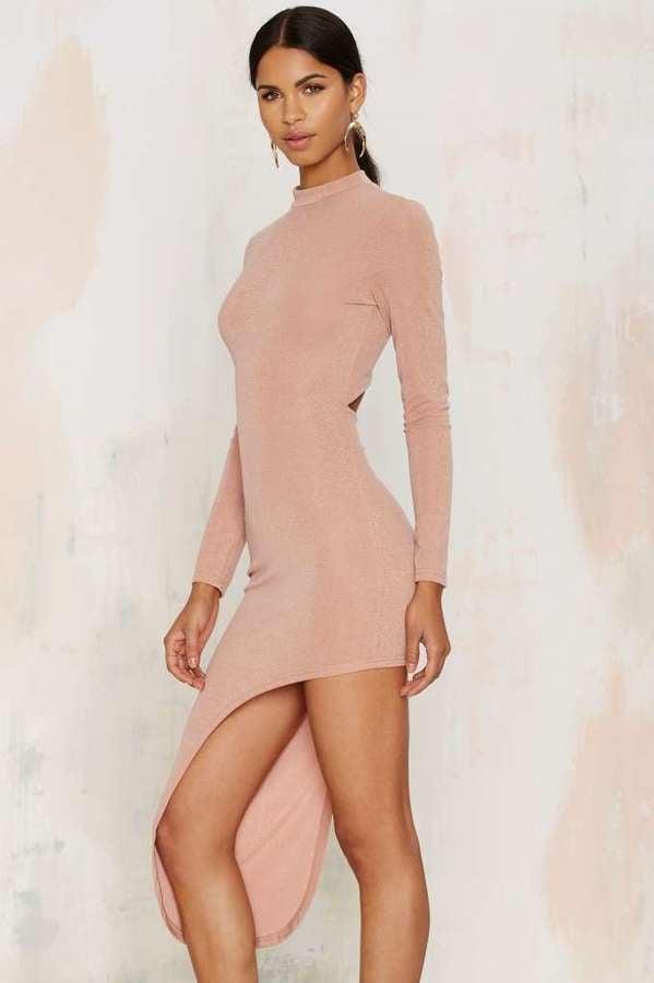 Glamorous Great Length Asymmetric Bodycon Dress Beige ($48)