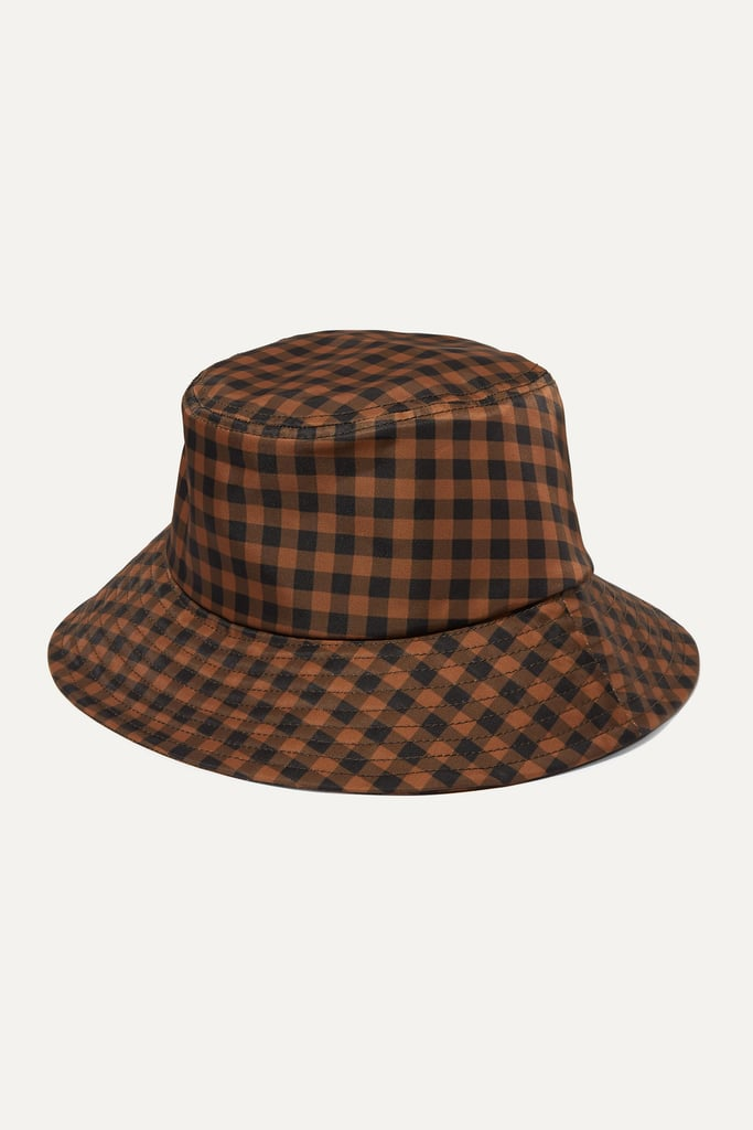 Loeffler Randall Ivy Checked Twill Bucket Hat