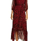 ba&sh Animal Print Midi Wrap Dress