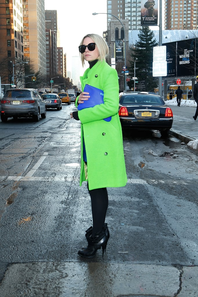 Blair Eadie made her streetwear pop with a neon green topper.
