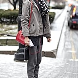 That quintessential model-off-duty style — booties, great jacket, and cross-body bag in tow.