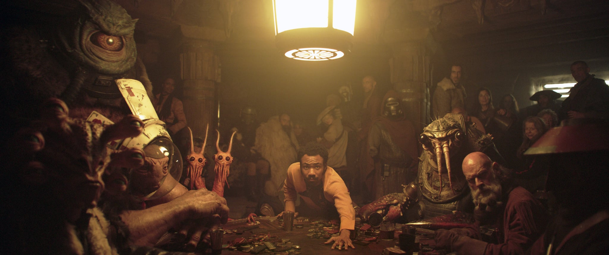 SOLO: A STAR WARS STORY,  Donald Glover as Lando Calrissian (center), 2018.  Lucasfilm/  Walt Disney Studios Motion Pictures /Courtesy Everett Collection