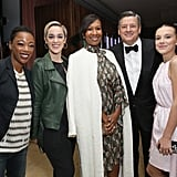 Pictured: Samira Wiley, Lauren Morelli, Nicole Avant, Ted Sarandos, and Millie Bobby Brown