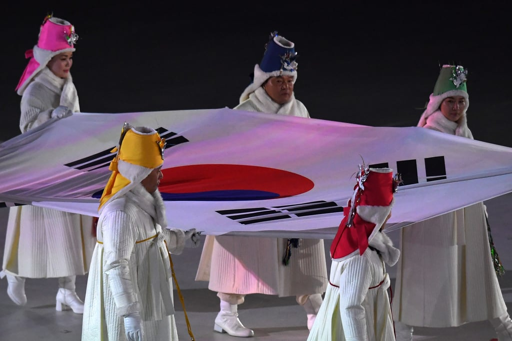 The flag of South Korea was carried into the stadium.