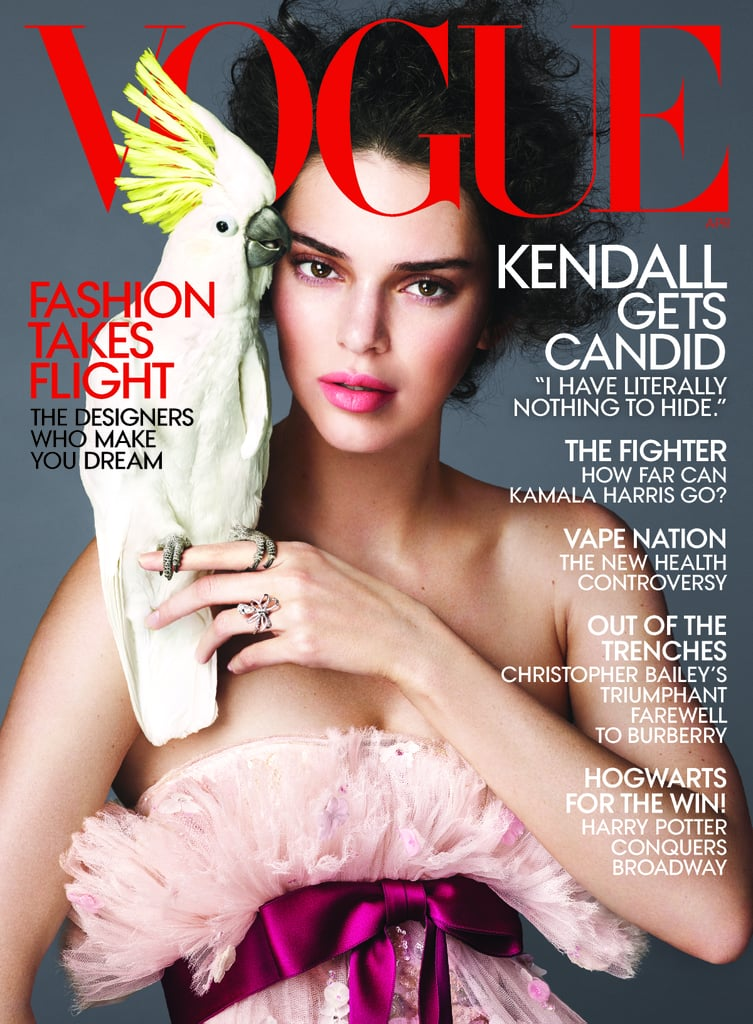 "Nabbing the cover of Vogue is hard enough, but Kendall Jenner has several under her belt, and she just scored another for the April 2018 issue. The 22-year-old model looks laid-back posing in a gorgeous pink Chanel dress while just casually holding a cockatoo with one finger. Yes, you read that correctly. For the cover interview, Off-White designer Virgil Abloh perfectly summed up why Kendall is his muse, and such a powerhouse: ""She exemplifies exactly what inspired me to design women's clothes: She's independent, strong, self-assured. It comes from a place of self-confidence, but with no air of arrogance, which is rare. In 30 years, I wouldn't be surprised if people have forgotten that she was one of the top models of the time and know her for something else."" The Vogue cover reads, ""Kendall gets candid,"" and that couldn't be more accurate. In the interview, Kendall touched on her controversial 2017 Pepsi commercial, her love life, and why she's decided to take a step back from her busy career. The looks for the shoot match the theme perfectly — she's so carefree, yet fabulous. Keep reading to see her in action, then watch Kendall ask herself some hard-hitting questions in the accompanying video.      Related:                                                                                                           Kendall Jenner Wants You to Know She Works Hard as a Model, So Don't Even Try to Discredit Her Work"