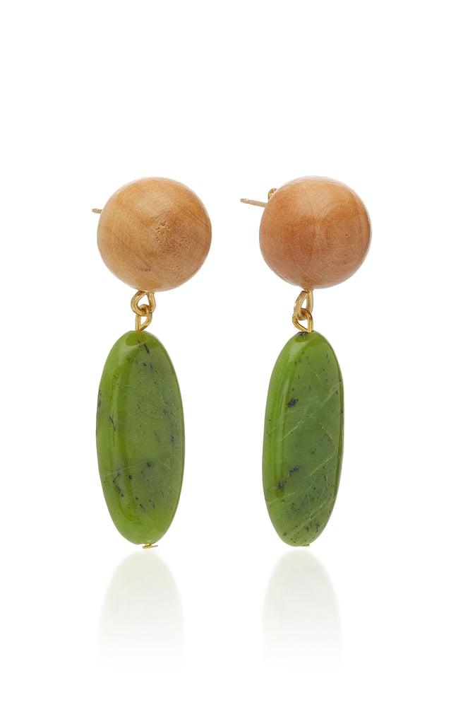 Sophie Monet Wood & Jade Aurora Drop Earrings