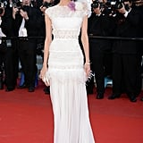 Diane Kruger wore a white gown on the red carpet in Cannes.