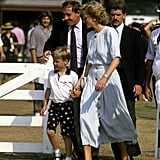 Princess Diana held on to William's hand at the Windsor Polo Fields in 1989.
