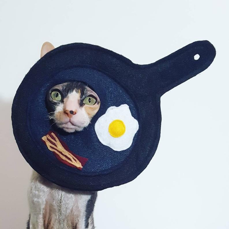 Breakfast Pan Egg and Bacon Cat Costume
