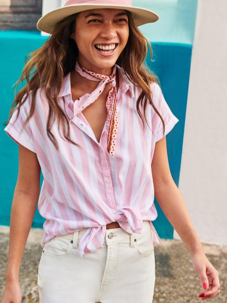 Relaxed Vertical-Stripe Cap-Sleeve Shirt