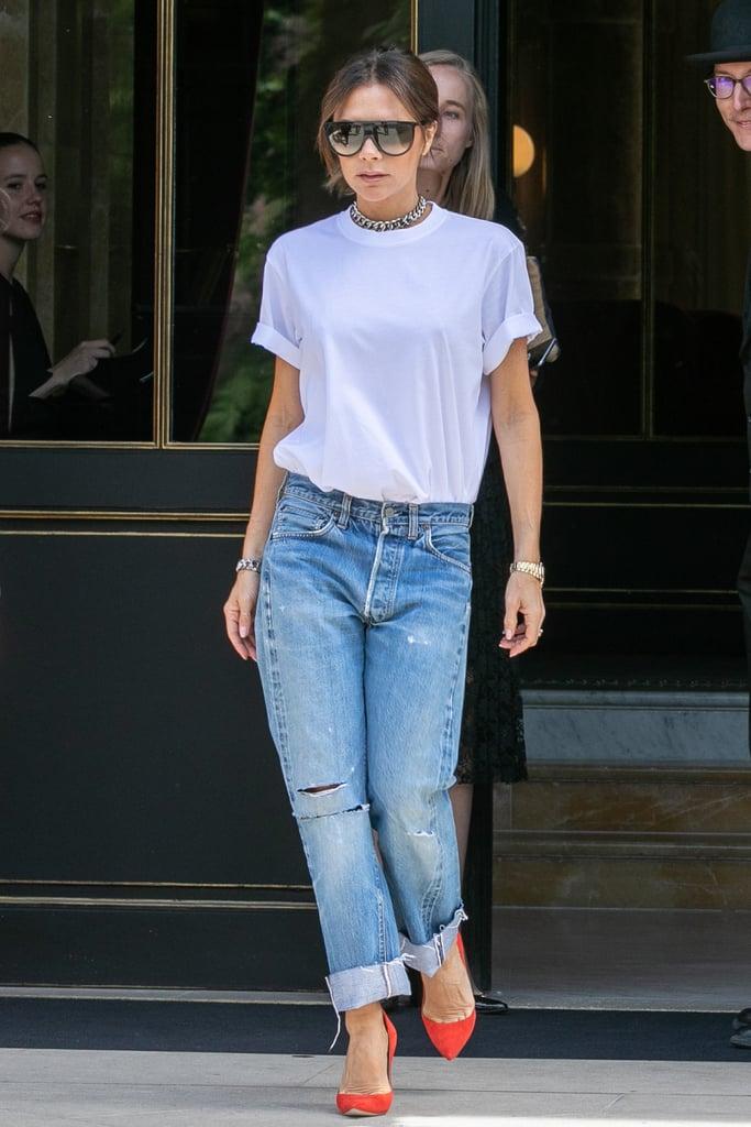 Victoria Beckham Wearing a Chain-Link Choker