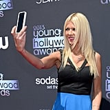 Sharknado actress Tara Reid took a selfie on the Young Hollywood Awards red carpet.