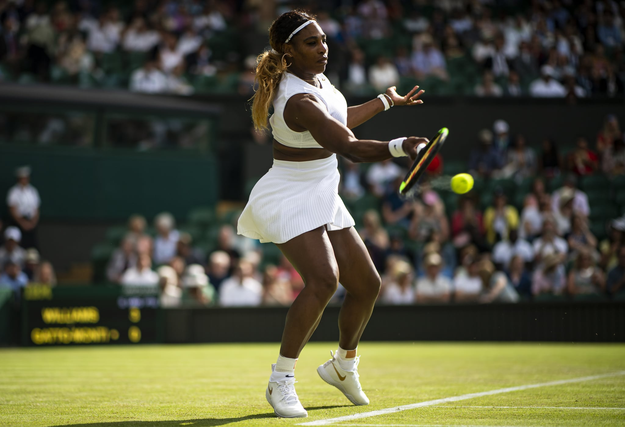 LONDON, ENGLAND - JULY 02: Serena Williams of the United States hits a forehand against Giulia Gatto-Monticone of Italy during Day 2 of The Championships - Wimbledon 2019 at All England Lawn Tennis and Croquet Club on July 02, 2019 in London, England. (Photo by TPN/Getty Images)