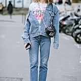 Style a graphic tee with a denim-on-denim look.