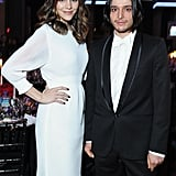 Katharine McPhee chatted with Olivier Theyskens at the amfAR event on Wednesday.