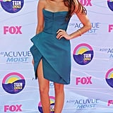 Nina opted for an architectural, strapless J. Mendel dress at the 2012 Teen Choice Awards.