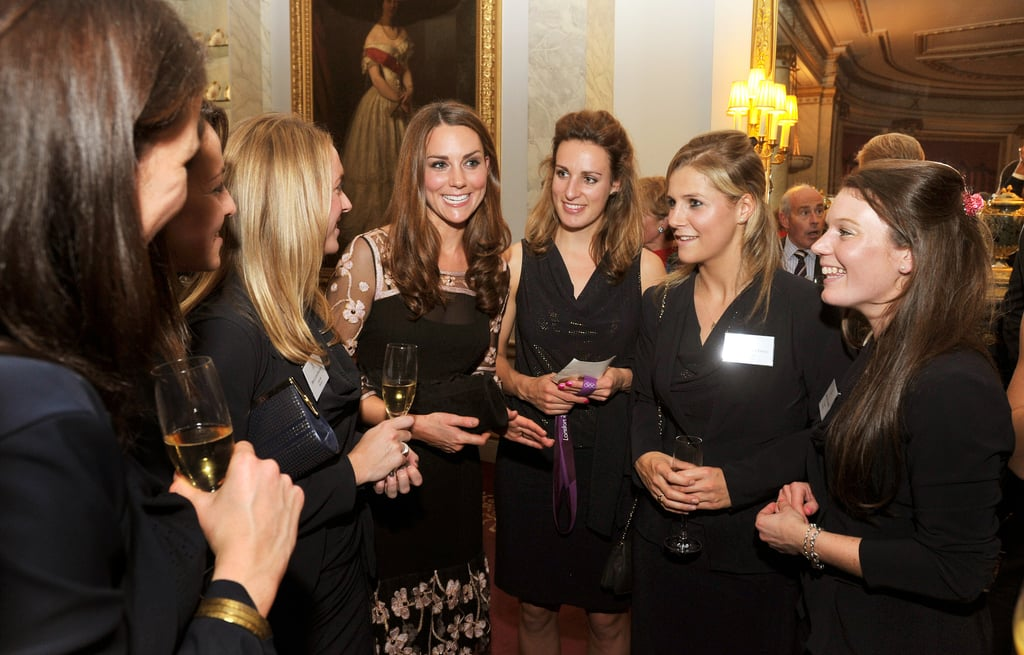Kate Middleton attended a royal reception for Team GB Olympic and Paralympic medalists from the London Games at Buckingham Palace today. She wore a black and white lace dress to chat with the athletes, including swimmer Stephanie Millward, rowers Heather Stanning and Helen Glover, and members of the women's hockey team. At the beginning of the month, Kate embarked on a four-day tour of the UK that had her making appearances in Newcastle and Burton upon Trent. She and Prince William broke from royal duties, though, for a night out at Loulou's in London, where they partied late into the night with friends.