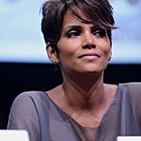 New bride Halle Berry styled her hair in a piecey flip while on a panel.