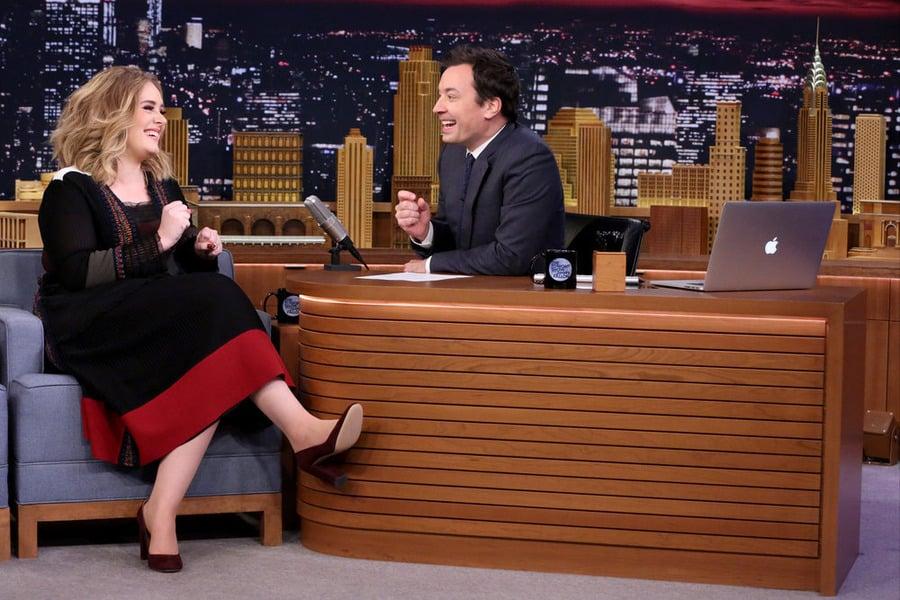 Adele Wearing a Valentino Dress on Jimmy Fallon