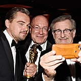 Leo Snapped a Quick Selfie With Producer Arnon Milchan and Director Steven Spielberg