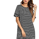 Floerns Striped Short Sleeve Loose Swing T-Shirt Dress