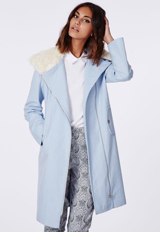 Missguided Kayla Shearling Collar Biker Coat