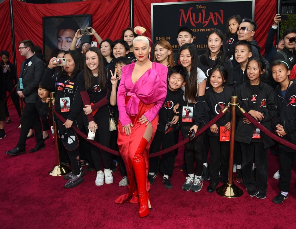 Christina Aguilera at the World Premiere of Mulan in LA