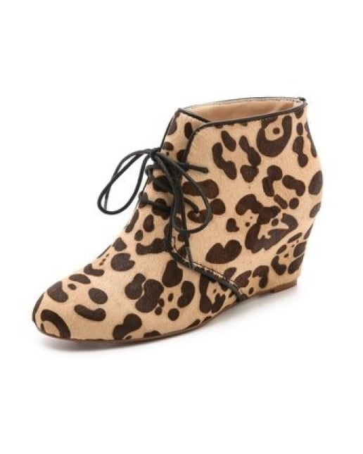 As cool to look at as they are comfortable to wear, these Marais USA curve hair-calf wedge booties ($198) are a unique play on the everyday boot.