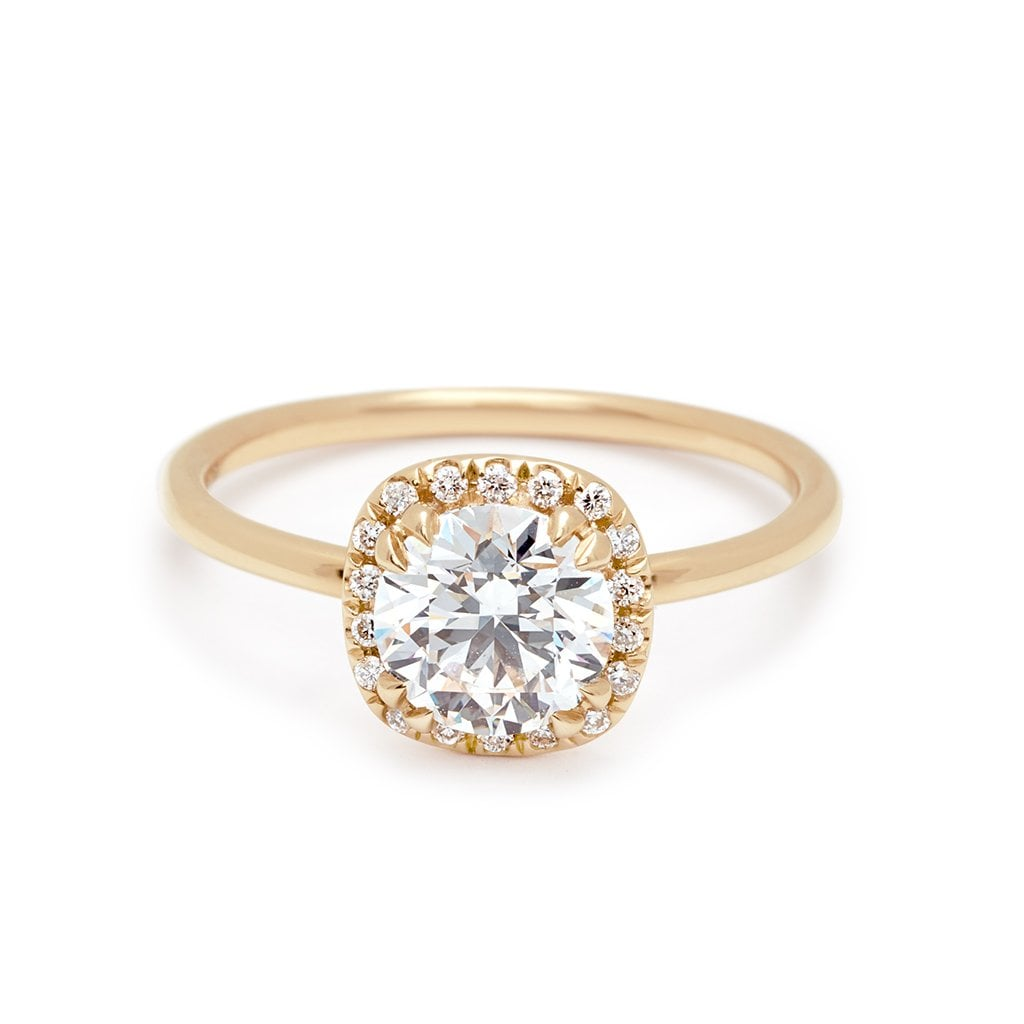 Eleonore Halo Delicate Ring Yellow Gold and White Diamond