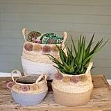 Set of Seagrass Pom Pom Baskets
