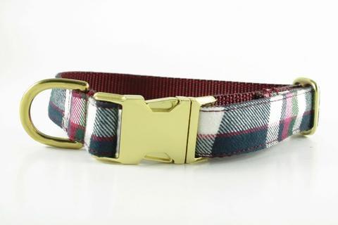 Bonjour Fido Cranberry Plaid Collar ($20)
