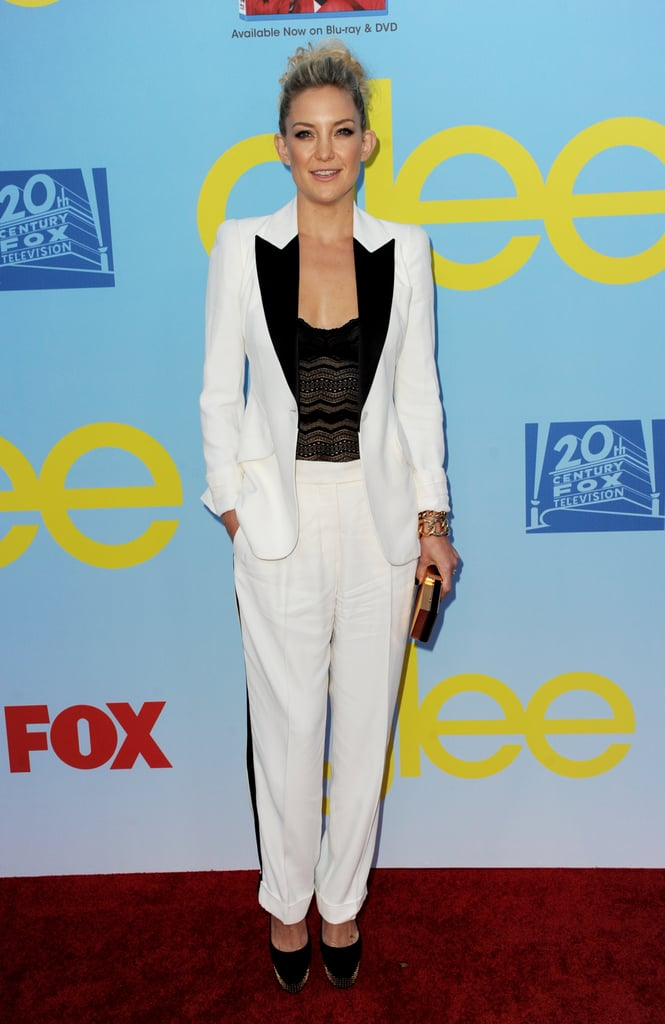 Kate Hudson's black and white colour pairing made the suit sporty and modern at the Glee Season 4 premiere in 2012.