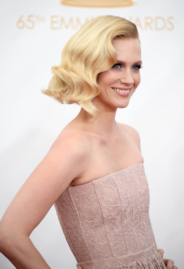Marcel waves never looked so good as they did on January Jones at the 2013 Emmys. And while she usually goes for more daring hair and makeup, this simple style works, too.