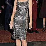Kristin Davis partied in a sparkly Pierre Balmain Couture dress and Rene Caovilla platform heels with Swarovski crystals at the Sex and the City 2 afterparty in NYC.