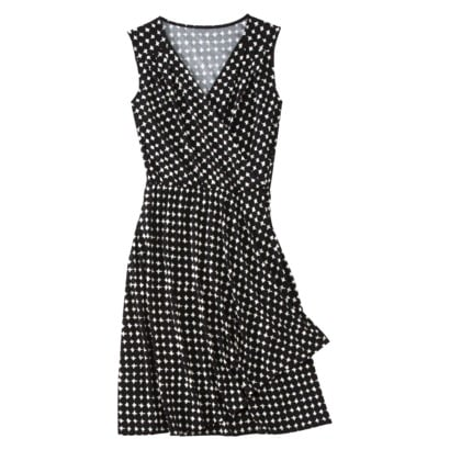 This wrap dress will look perfectly polished with a white blazer and a bold-colored accent belt.  Merona Women's Wrap Dress With Front Panel ($25)
