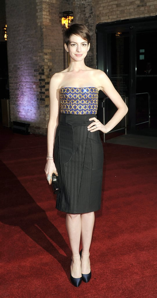 Anne Hathaway brought another stunning look out for Les Misérables in this strapless and embellished Altuzarra dress at the film's London afterparty.