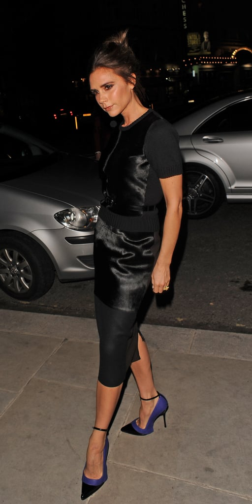 Victoria Beckham wore her own Victoria Beckham for Manolo Blahnik heels out in London.