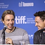 Dax Shepard and Robert Downey Jr. had a comedic moment at the press event for The Judge.