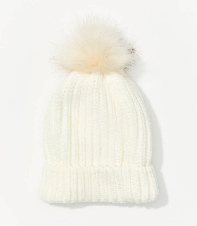 LOFT Ribbed Faux Fur Pom Pom Hat