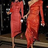 Kendall wore a red crystal beaded one-shouldered Alexandre Vauthier dress in Paris.