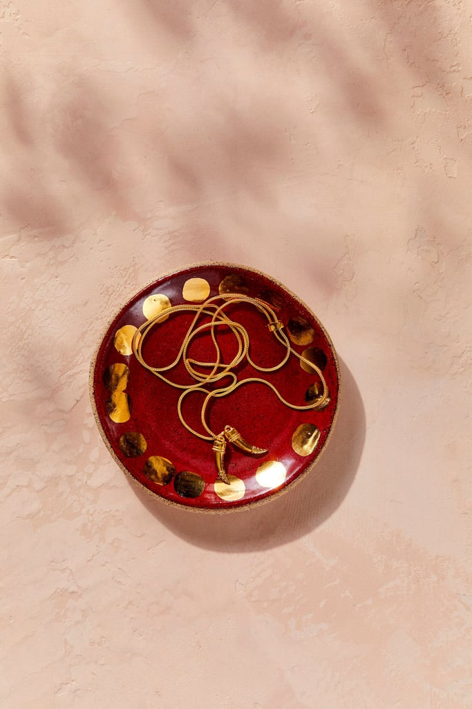 House of Harlow 1960 Creator Collab Red Gold Stoneware Jewelry Dish