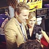 Dax Shepard and Kristen Bell kept close at the premiere of the movie they starred in together, Hit and Run.