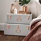 Beautify Storage 2 Piece Trunk Set in Gray