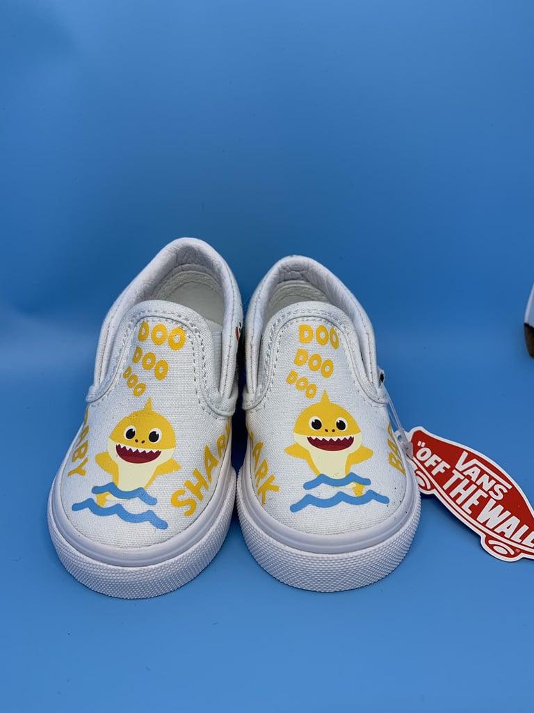 Yellow Baby Shark Custom Vans Slip-Ons