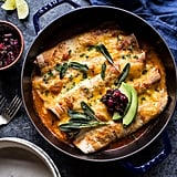 Green Chile Butternut Squash Turkey Enchiladas With Crispy Sage