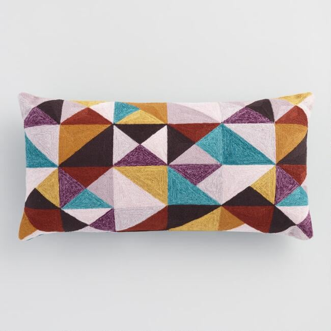 Oversized Geometric Triangles Indoor Outdoor Lumbar Pillow