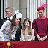 Kate leaned in to chat with Estella Taylor and Lady Helen Taylor on the balcony during the 2014 Trooping the Colour.