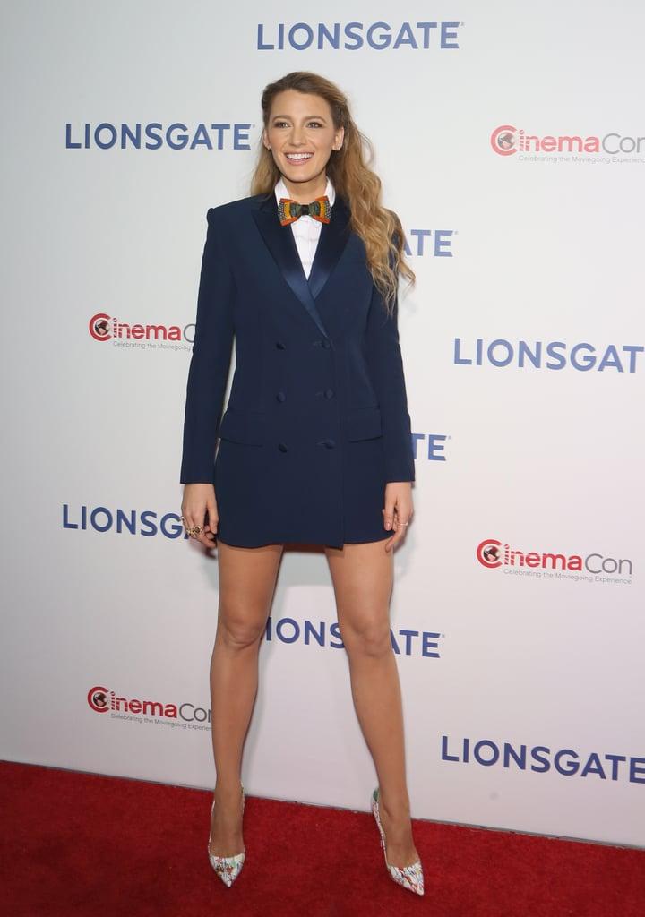 Blake Lively Blue Sonia Rykiel Blazer Dress | POPSUGAR