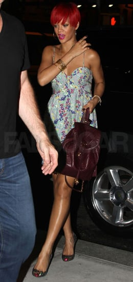 Pictures of Rihanna With a Leather Backpack
